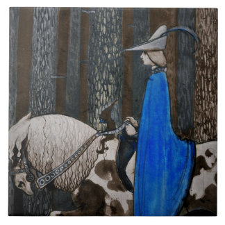 Prince and Tomten Ride Through the Woods Tile