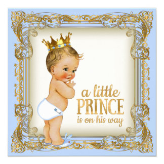 Prince Baby Shower Baby Blue Gold Prince Card