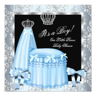 Prince Baby Shower Baby Boy Blue Damask Crown 4g Invitation
