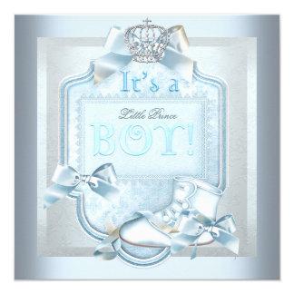 Prince Baby Shower Baby Boy Blue Damask Shoe Card