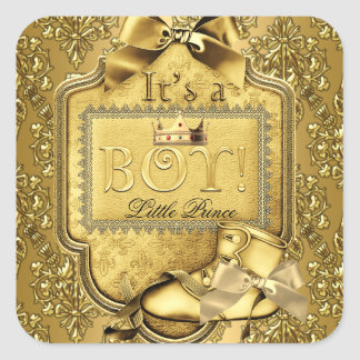 Prince Baby Shower Baby Boy Elite Damask Gold Square Sticker