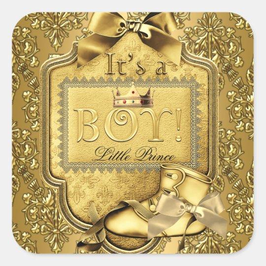 elit templates sticker - prince baby shower baby boy elite damask gold square