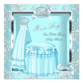 Prince Baby Shower Baby Boy Teal Damask Crown 4G Invitation