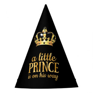 Prince Baby Shower Black Gold Crown Party Party Hat