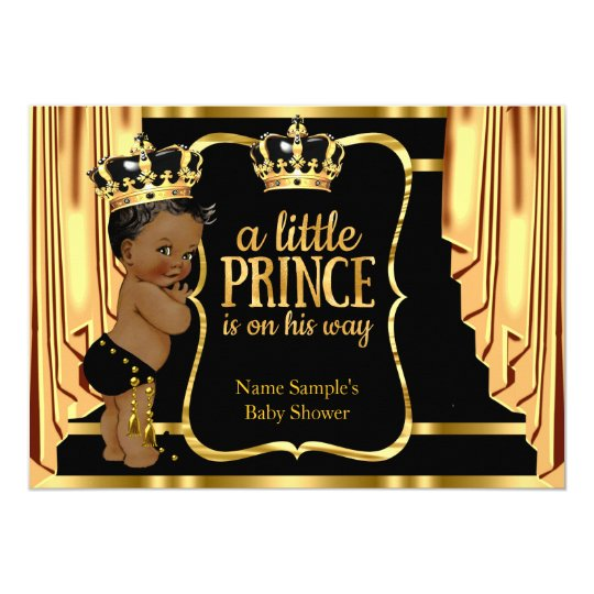 prince baby shower black gold drapes ethnic card   zazzle, Baby shower invitations