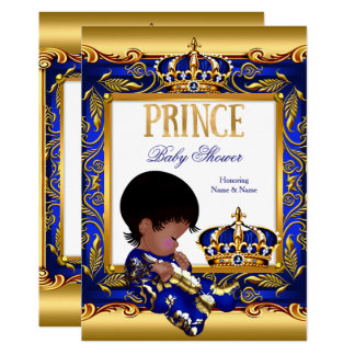 Prince Baby Shower Blue Gold African American Foil Card
