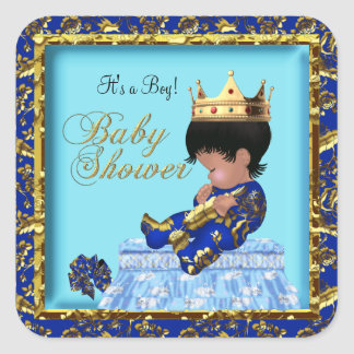 Prince Baby Shower Blue Gold Boy Square Stickers