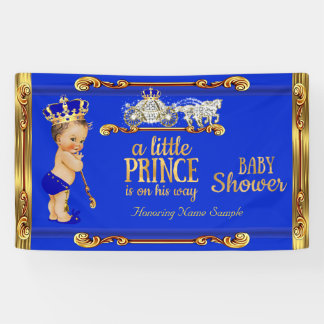 Prince Baby Shower Blue Gold Carriage Brunette Boy Banner
