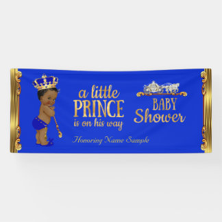 Prince Baby Shower Blue Gold Carriage Ethnic 2 Banner