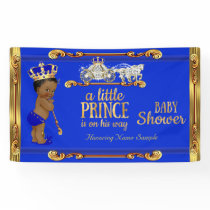 Prince Baby Shower Blue Gold Carriage Ethnic Banner