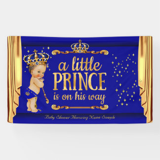 Prince Baby Shower Blue Gold Drapes Brunette Boy Banner