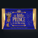 """Prince Baby Shower Blue Gold Drapes Ethnic Banner<br><div class=""""desc"""">Banner Prince Baby Shower Royal Navy Blue Gold Ethnic African American Baby Shower Boy. Sparkle Golden Drapes Curtains Gold Crown Boy Baby Shower. Little Prince is on his way</div>"""