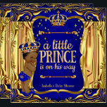 "Prince Baby Shower Blue Gold Ethnic Boy Invite<br><div class=""desc"">Prince Boy Baby Shower. Faux Gold Foil Little Prince is on his way,  Baby Shower. Elegant Blue Gold Crown. Prince Baby Shower Royal Navy Blue Gold. Ethnic African American Baby Shower Boy. Sparkle Golden Drapes Curtains Gold Crown Boy Baby Shower. Little Prince is on his way</div>"