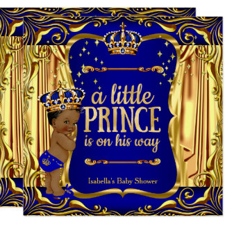 Prince Baby Shower Blue Gold Ethnic Boy Invite