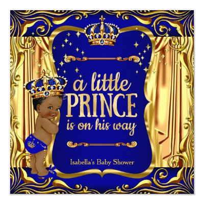 royal blue navy gold prince baby shower ethnic card | zazzle, Baby shower invitations
