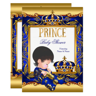 Prince Baby Shower Blue Gold Foil Boy Card