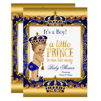 Prince Baby Shower Blue Ornate Gold Blonde Boy Card