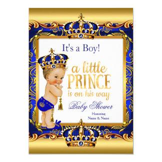 Prince Baby Shower Blue Ornate Gold Blonde Boy Card