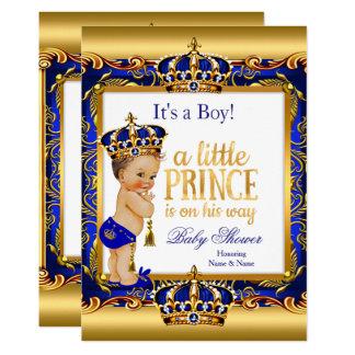 Prince Baby Shower Blue Ornate Gold Brunette Boy Card