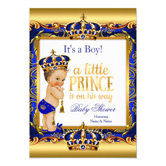 Prince Baby Shower Blue Ornate Gold Brunette Boy Card