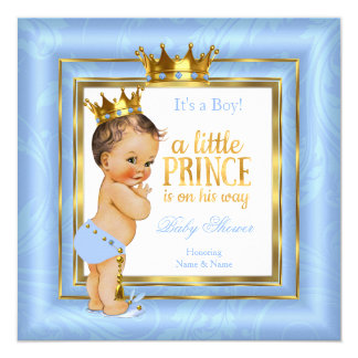 Prince Baby Shower Blue White Gold Crown Brunette Card