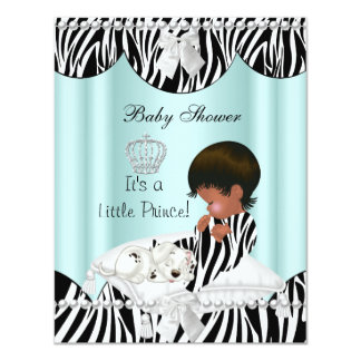 Prince Baby Shower Boy African American Zebra Card