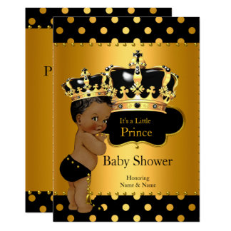 Prince Baby Shower Boy Black Gold Ethnic Card