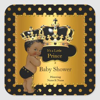 Prince Baby Shower Boy Black Gold Ethnic