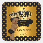 Prince Baby Shower Boy Black Gold Ethnic Square Sticker