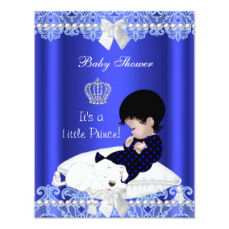 Prince Baby Shower Boy Blue Lace Puppy 4.25x5.5 Paper Invitation Card