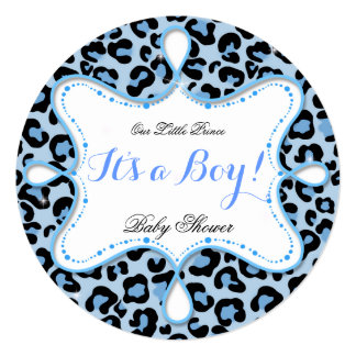 Prince Baby Shower Boy Blue Leopard Custom Invites