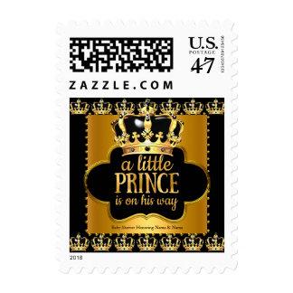 Prince Baby Shower Boy Crown Black Gold Postage Stamp