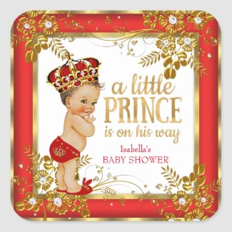 Prince Baby Shower Boy Red Gold White Brunette
