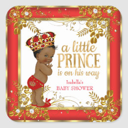 Prince Baby Shower Boy Red Gold White Ethnic Square Sticker