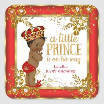 Toddler & Baby themed Prince Baby Shower Boy Red Gold White Ethnic Square Sticker