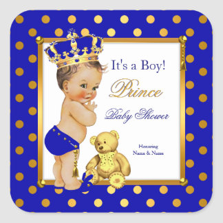 Prince Baby Shower Boy Royal Blue Gold Brunette Square Sticker
