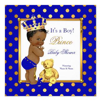 Prince Baby Shower Boy Royal Blue Gold Ethnic Card