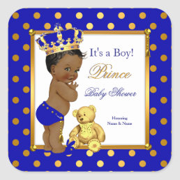 Prince Baby Shower Boy Royal Blue Gold Ethnic Square Sticker