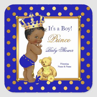 Toddler & Baby themed Prince Baby Shower Boy Royal Blue Gold Ethnic Square Sticker