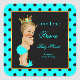 Prince Baby Shower Boy Teal Black Blonde Square Sticker