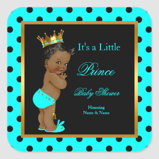 Prince Baby Shower Boy Teal Black Ethnic Square Sticker