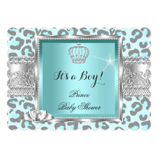 Prince Baby Shower Boy Teal Blue Gray Leopard Card