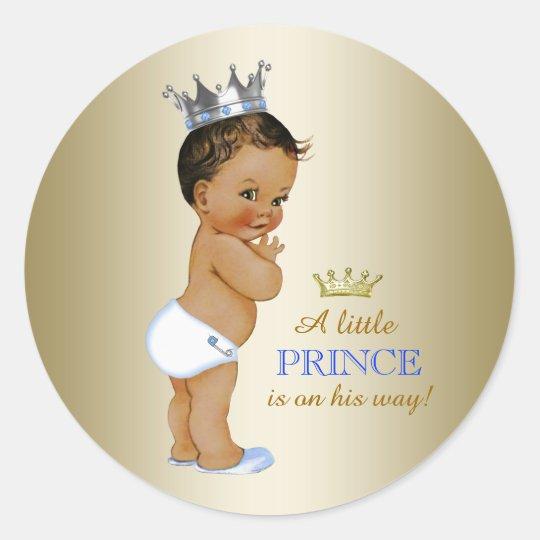 Prince Baby Shower Classic Round Sticker