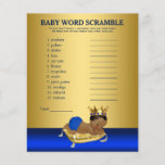 """Prince Baby Shower Games Words and Rhyme<br><div class=""""desc"""">Prince baby shower games with baby word scramble on one side, and nursery rhyme quiz on the other. This royal blue and gold ethnic prince baby shower game flyer is fun and economical! You can change the questions and the words. You can delete our games and add your own. Hand...</div>"""