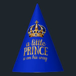 """Prince Baby Shower Gold Crown Royal Blue Party Party Hat<br><div class=""""desc"""">Prince Baby Shower Crown Royal Blue. Faux Gold Foil A Little Prince is on his way. Royal Blue gold crown Boy</div>"""
