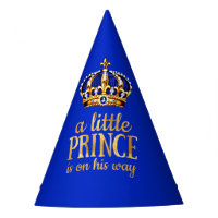 Prince Baby Shower Gold Crown Royal Blue Party Party Hat