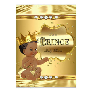 Prince Baby Shower Gold Foil Ethnic Baby Boy Card
