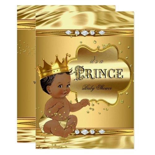 Prince Baby Shower Gold Foil Ethnic Baby Boy Invitation