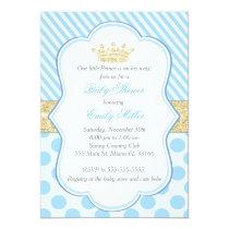 Prince Baby Shower Invitation Blue Gold Glitter