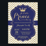 "Prince Baby Shower Invitation Navy and Gold<br><div class=""desc"">Prince Baby Shower Invitation with Navy and Gold Glitter Chevron background. For further customization,  please click the &quot;Customize it&quot; button and use our design tool to modify this template.</div>"